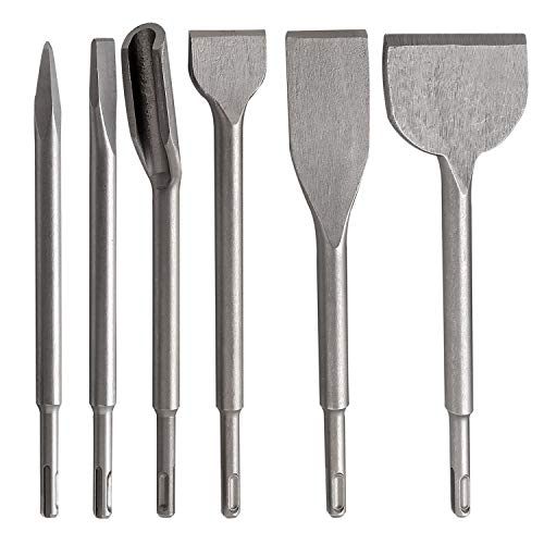 CPROSP SDS Plus Chisel Set, Including Point Chisel, Flat Concrete Rotary, Groove Chisel 6PCS Hollow Grooving (Gouge)