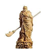 繁樓藝雕 三国志関羽 武財神 TheChanger 風水 開運 昇運 機運上昇 木彫り 置物 (高さ21cm×巾7cm)