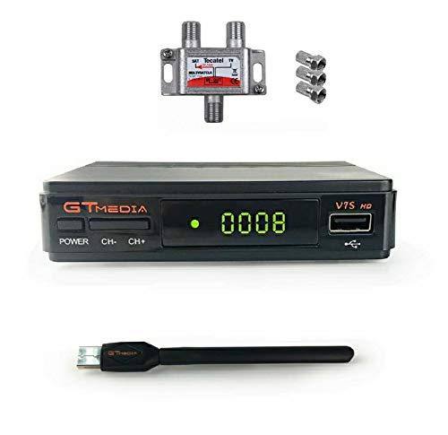 GTmedia V7S, receptor multimedia GT HD, compatible con Youtube, Bisskey, decodificador de TV Europa, España, DVB-S2, Freesat V7. Mezclador SAT-TV Incluido