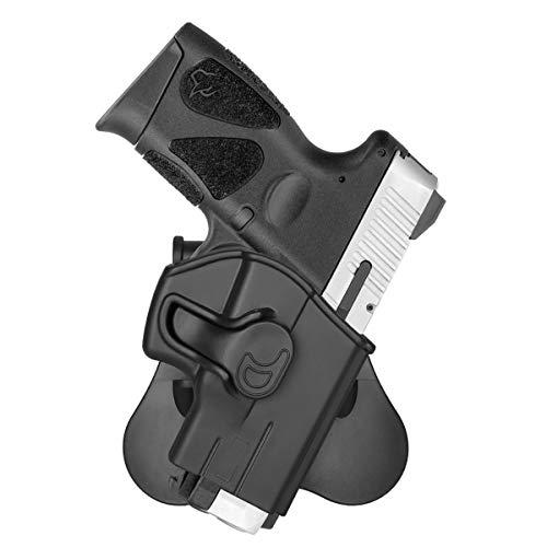 cavebear OWB Paddle Holsters Fits Taurus G2C Taurus Millennium PT111 G2 G3 PT132 PT138 PT140 PT745(NO PRO), 360 ° Adjustable Outside Waistband Polymer Pistol Holster Trigger Release - Right Hand