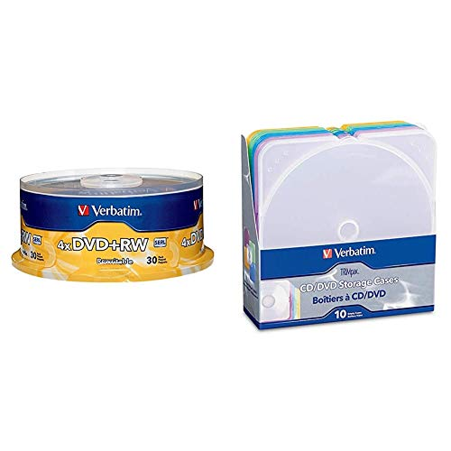 Verbatim DVD+RW 4.7GB 4X Surface - 30pk Spindle & CD/DVD Color TRIMpak Cases - 10pk, Assorted