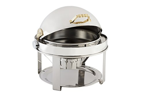 Bon Chef 12010 Elite Series Stainless Steel Dual Use Round Chafing Dish with Contemporary Legs, 2 gal Capacity