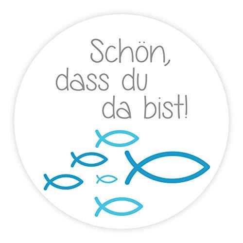 in due Aufkleber 'Schön, DASS du da bist!' Fische blau für Kommunion, Konfirmation & Taufe - 24 Stück 4 cm Junge