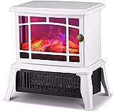 CLOTHES El Calentador de Estufa de Chimenea eléctrico portátil Independiente, Calentador portátil de la Mesa 1500W con Efecto de Llama de Fuego, diseño de Arco, para Dormitorio. (Color : White)