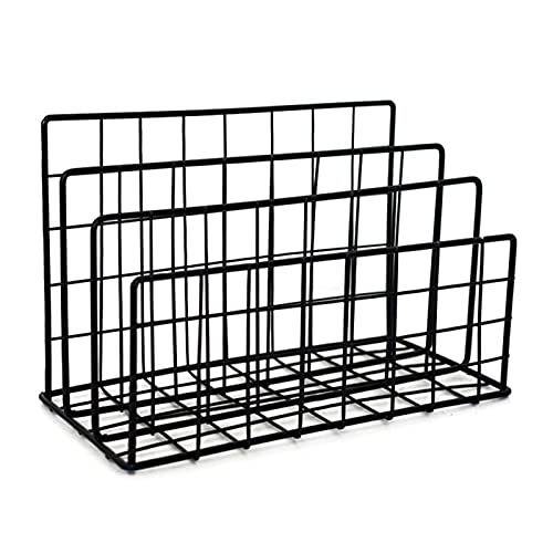 Nai-storage Soporte Organización Escritorio Metal Lron,Suministros Oficina Casa, Estante Almacenamiento,Estante Pequeño para Exhibición, Estante (Color : Black)