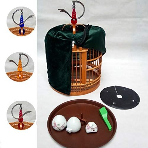 DXIUMZHP Vogelkafig Vogelbauer Deko Kafig Bambus Vogelkäfig Aus Handgefertigtem Wohnzimmer Chinesischer Traditioneller Vogelkäfig Drosselkäfig Mit Haken (Color : Brown-A, Size : 30 * 30 * 42 cm)