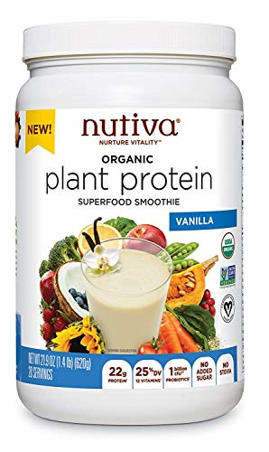 Nutiva Organic Plant Protein Superfood Smoothie, Vanilla, 1.4 Pound | USDA Organic, Non-GMO, Non-BPA | Vegan, Gluten-Free, Keto & Paleo | 22g Protein Shake & Meal Replacement with No Sugar
