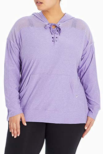 Marika Plus Size Riley Lace Up Pullover Hoodie, Heather Violet Tulip, 1X