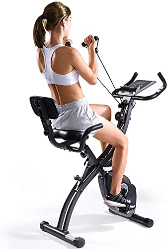 Exercise Bike Folding Magnetic Upright Exercise Bike w/Pulse Sensor/LCD Monitor Indoor Cycling Bike Stationary Bike Recumbent Exercise Bike with Arm Resistance Bands, Perfect for Home Use
