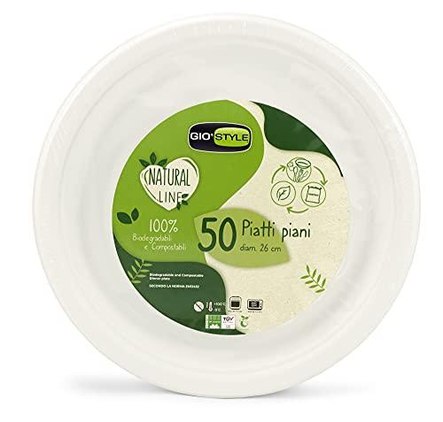 50 platos llanos de 26 cm de pulpa de celulosa