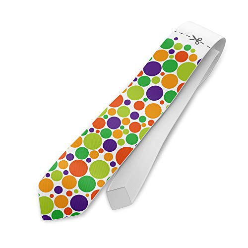 clothinx Weiberfastnacht Krawatte mit Linie zum Abschneiden und Buntem Konfetti Punktemuster Ideal zu Karneval und Fasching als Gag im Büro oder auf der Party