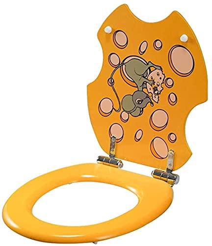 FTYYSWL Bonito asiento de inodoro con diseño de ratón, tapa de inodoro, asiento de inodoro de resina con tapa, bisagras estables, fácil de montar