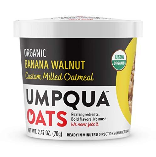 Umpqua Oats Organic Oatmeal Cups, Banana Walnut, 2.47 Ounce Cups, 8 Count