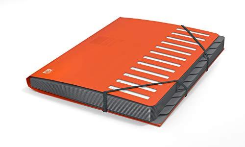 Oxford Ordnungsmappe A4 aus Kunststoff, 12 Fächer/Taben, Pultordner, orange, 1 Stück