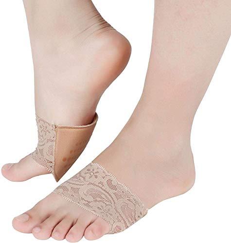Duokon 3 paar verborgen anti-slip hoge hak voorvoet pad metatarsale anti-pijn spons kant kussen voet zorg gereedschap kant