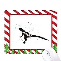トカゲの黒と白の動物 ゴムクリスマスキャンディマウスパッド