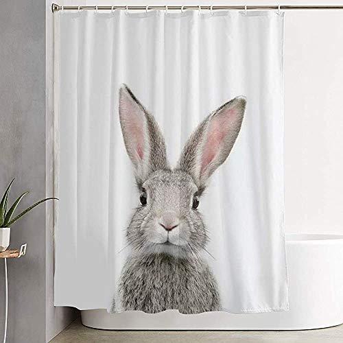 ABRAN Niedlicher Hase Kaninchen Duschvorhang, mit Haken Dusche Bad Vorhang für Badezimmer, Polyester Badezimmer Duschvorhang