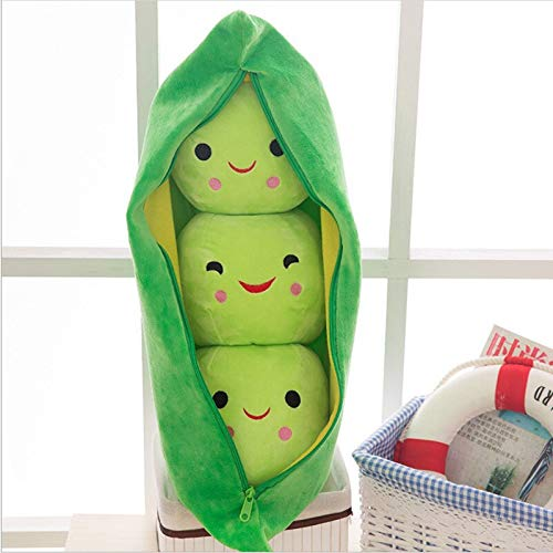 Dehcye 40-50CM pea pod cute filled plant doll child plush toy pea pillow toy 3 bean belt cloth bag creative plush toy 2 color 40cm 1