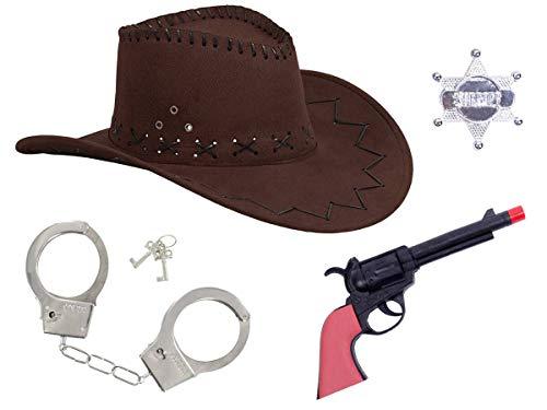 Alsino Cowboy Kostüm Accessoires für Damen & Herren (Kv-68) mit Cowboyhut braun Western Pistole Revolver Sheriffstern Set