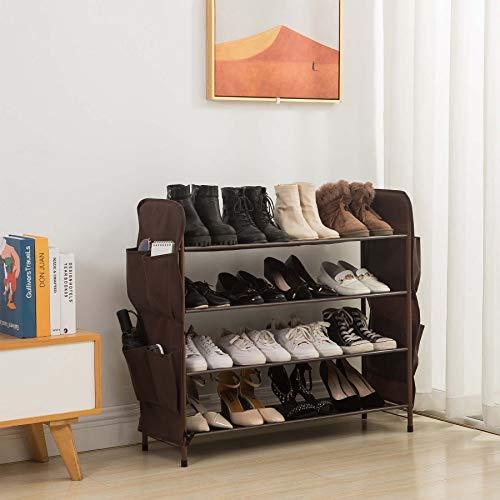 UDEAR Zapatero Independiente, 4 Niveles con 8 Bolsillos Laterales para Zapatos, 80 cm de Ancho, Marrón