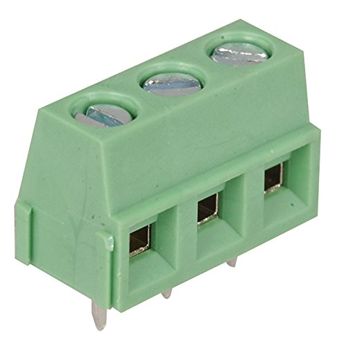 """On Shore Technology OSTYC032150 Connector Terminal Block, 3 Position, 200"""" x 5.08 mm Size, Spacing Top Screw, Green (Pack of 10)"""