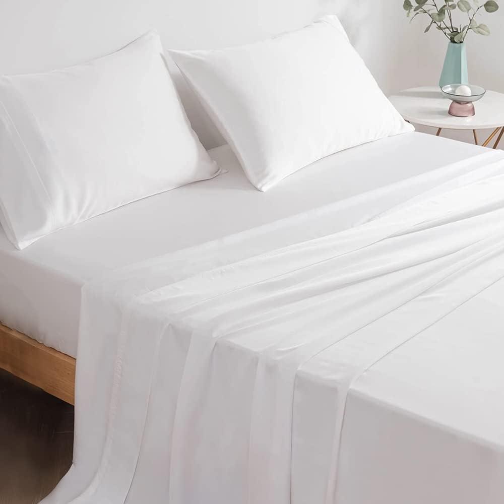 Pizuna 500-Thread-Count Ranking TOP13 Tencel-Sheet Set-Queen White 4pc Free Shipping New Moistu