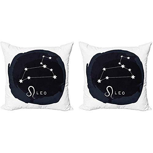 Juli Leo decoratieve gooien kussensloop, Astrologische aquarel kunst ronde sterrenbeeld teken en naam van dierenriem