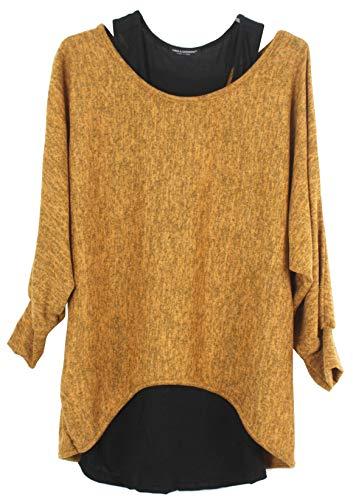 Emma & Giovanni - Damen Oversize Oberteile Tshirt/Pullover (2 Stück) / Made In Italy,L-XL,  # Ocker