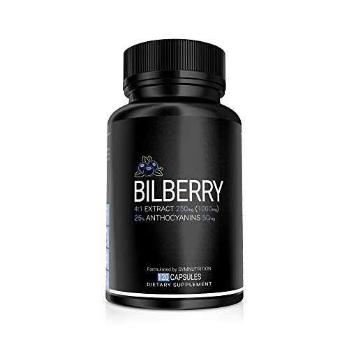 Bilberry Extract 1000mg, 25% Anthocyanins 50mg - 120 Count (V-Capsules) / 120 Servings; European Blueberry: Manufactured in a cGMP-Registered Facility in USA; Non-GMO, Vegan & Gluten Free