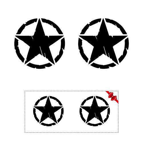 Sticker Mimo Adesivi per Auto Vintage Militare Stella US Army graffiato per Jeep Moto Camper, Panda 4x4, Decalcomanie (Nero 6cm)