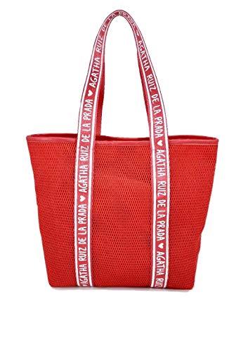 La Prada Agatha Ruiz Damen-Handtasche, Shopper aus Mesh, rot