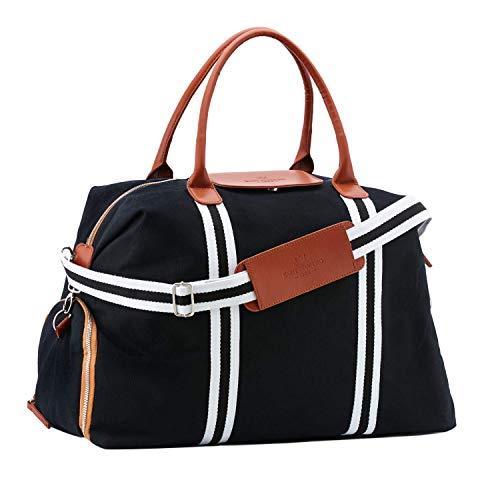 Saint Maniero Design Reisetasche Weekender Sporttasche Schultertasche Dufflebag atmungsaktiv Fitnesstasche Vintage Tasche Gross Reisegepäck Sportbag Freizeittasche Segeltuchtasche (schwarz)