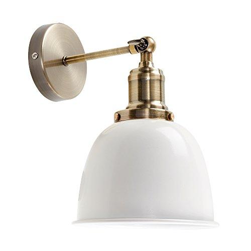 MiniSun – Verstellbare Wandleuchte im Steampunk-Stil mit antik messingfarbenem Finish und cremefarbenem Metallschirm – Wandlampe