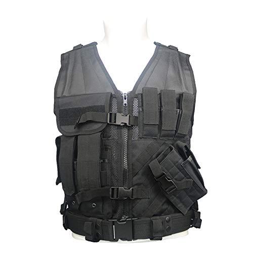 Greencity Tactical Vest Durable Mesh Vest Modular Assault Adjustable Lightweight Breathable Combat Training Military Chest Rig for Men,Black