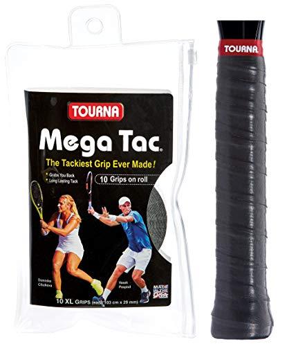 Tourna Mega Tac Extra Tacky Overgrip, Black, 10-Pack