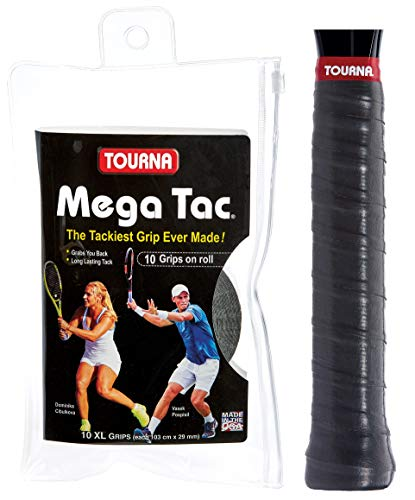 Tourna Mega Tac Extra Tacky Overgrip, Black, 10-Pack