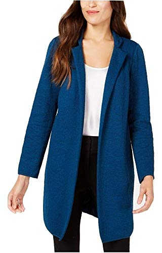 Alfani Women's Jacquard Open-Front Jacket Teal X-Large