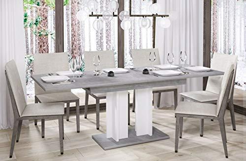 Endo-Moebel Esstisch Aurora 130cm - 210cm erweiterbar ausziehbar Säulentisch Küchentisch (Beton)