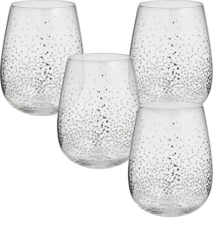 Circleware Silver Confetti Stemless Wine Glasses, Set of 4 Drinking Glassware for Water, Juice, Beer, Liquor and Best Selling Kitchen & Home Decor Bar Dining Beverage, 18.9 oz