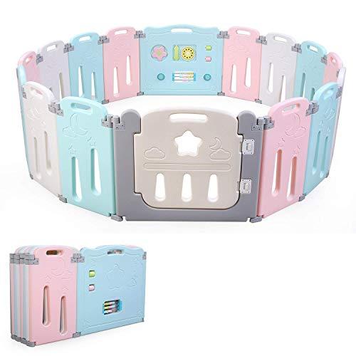BAMNY Box Recinto per Bambini Barriera di Sicurezza Pieghevole con Porta Plastica Estensibile (rosa+blu+luna, 14+2)
