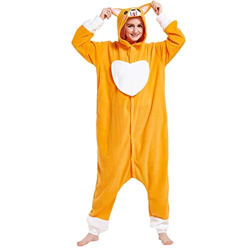 LSERVER Ropa de Dormir Disfraz de Cosplay para Adultos Traje de Unisexo Pijama de Forro Polar de Otoño e Invierno Estilo de Animales, Perro Corazón Amarillo, L