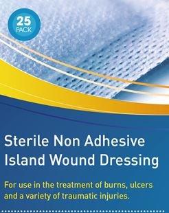 Steril nicht klebende Wundauflagenin verschiedenen Größen, hypoallergen und steril (ähnlich wie Mepore/Primapore), 25 Stück