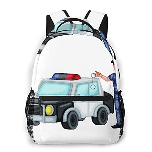 AMIGGOO Mochila informal ,Un oficial de policía con un coche de policía, Mochila de viaje con cremallera , Para negocios, escuela, trabajo, portátil Mochila 16 'X11.5 X8