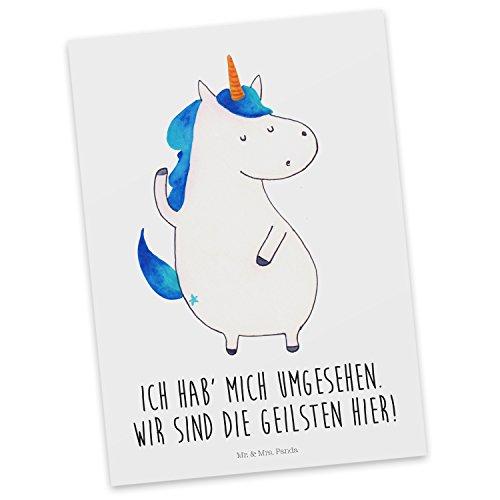 Mr. & Mrs. Panda Geschenkkarte, Grußkarte, Postkarte Einhorn Mann mit Spruch - Farbe Weiß