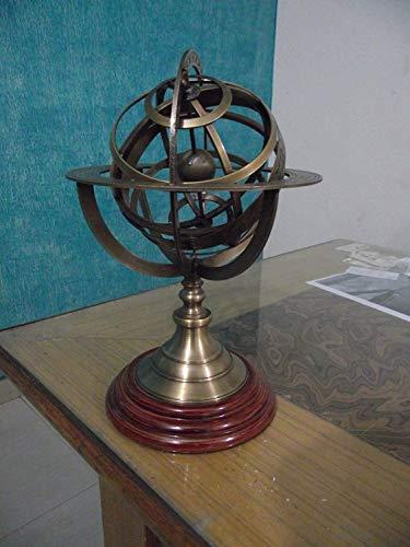 Antiquegifts2019 Nautical12 Esfera Armilar Latón Globo Mundial Rosewood Base Decoración del Hogar Esfera Náutica Globos Mundial Regalo