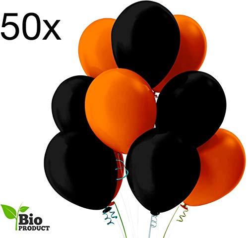 TK Gruppe Timo Klingler 50 x Luftballons Ø 35 cm Halloween schwarz, orange - bunt gemischt für Luft & Helium als Deko Dekoration für grusel Party