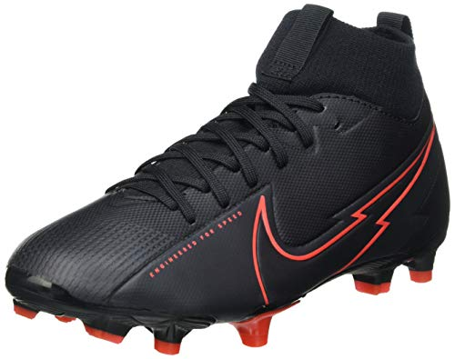 Nike Jr. Superfly 7 Academy FG/MG Football Shoe, Black/Black-Dark Smoke Grey-Chile Red, 34 EU