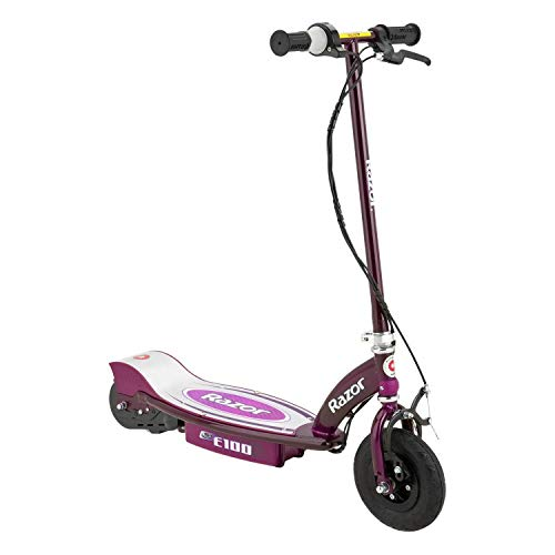 Razor E100 Kids Ride On 24V Motorized Powered Electric Scooter Toy, Speeds up to 10 MPH with Brakes and Pneumatic Tires, Purple
