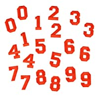 Lellee 刺繍 数字アップリケ・ワッペン レッド 赤文字 0~9 x 2セット(20枚) red