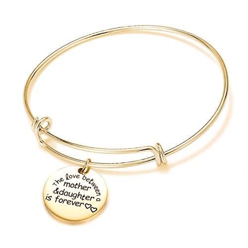 Jaxinty Mother Daughter Bangle Bracelet Charm Adjustable Stainless Steel Expandable Wire Bracelets for Women Girls
